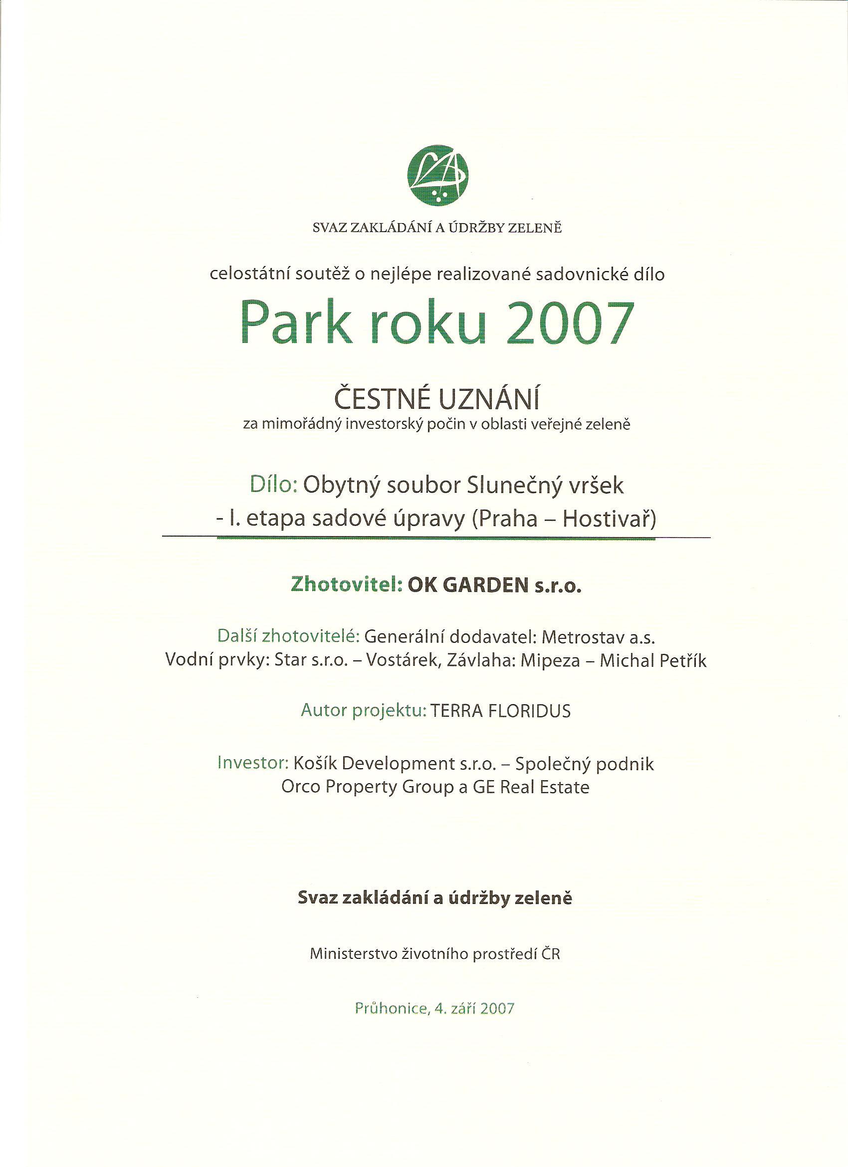 Čestné uznání - Park roku 2007
